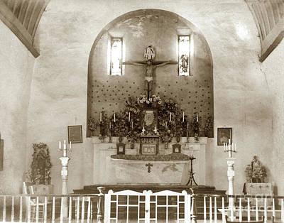 Photograph - Interior Of Carmel Mission Circa 1915 by California Views Mr Pat Hathaway Archives
