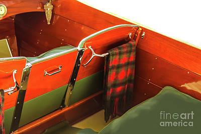 Photograph - interior of Classic Wooden Motorboat by Susan Vineyard