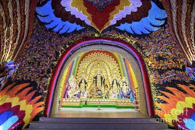 Durga Puja Photograph - Interior Of Decorated Durga Puja Pandal, At Kolkata, West Bengal, India. by Rudra Narayan Mitra