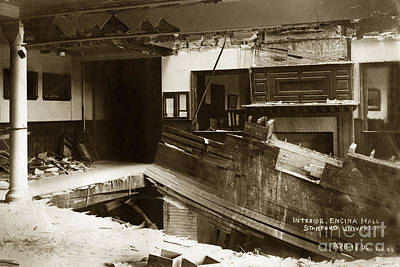 Photograph - interior of Encina Hall showing the damage caused by collapsing  by California Views Mr Pat Hathaway Archives