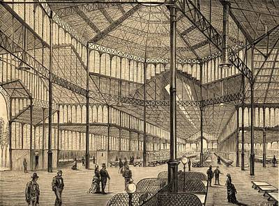 Barcelona Drawing - Interior Of New Borne Market by Vintage Design Pics