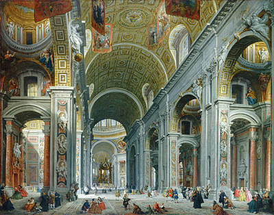 Painting -  Interior Of Saint Peter's by Giovanni Paolo Panini