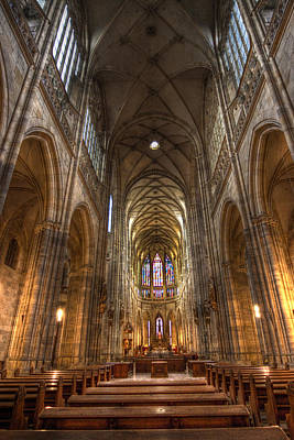Art Print featuring the photograph Interior Of Saint Vitus Cathedral by Gabor Pozsgai