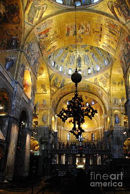 Photograph -  Interior Of San Marco Basilica - Vertical by Jacqueline M Lewis