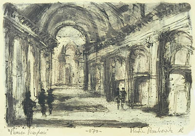 Painting - Interior Of St. Peter After Giovanni Piranesi by Martin Stankewitz