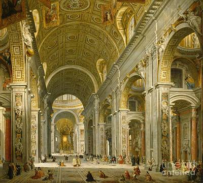 Visitors Painting - Interior Of St. Peter's - Rome by Giovanni Paolo Panini