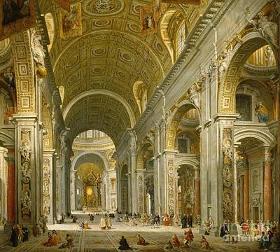 Giovanni Paolo Panini Painting - Interior Of St. Peter's Rome  by Giovanni Paolo Panini