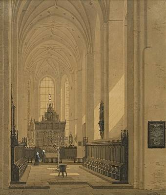 Aarhus Painting - Interior Of The Cathedral At Aarhus by MotionAge Designs