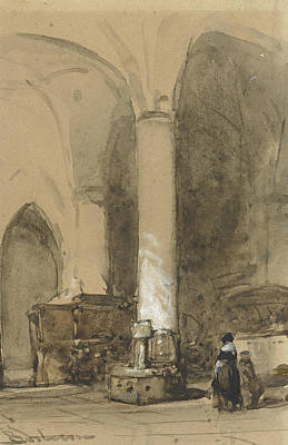 The Church Drawing - Interior Of The Church Hattem by Johannes Bosboom