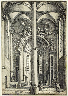 Drawing - Interior Of The Church Of Saint Katherine by Daniel Hopfer