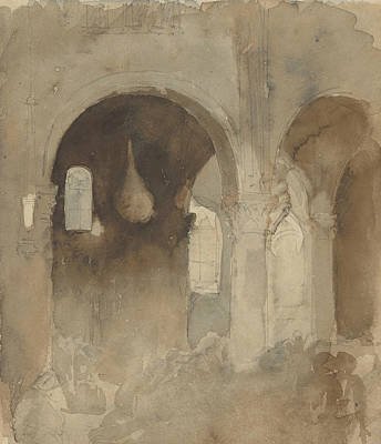 Drawing - Interior Of The Church Of Valmont Abbey by Eugene Delacroix