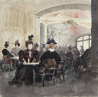 On Paper Painting - Interior Of The Concert Rouge by Henri Laurent Mouren
