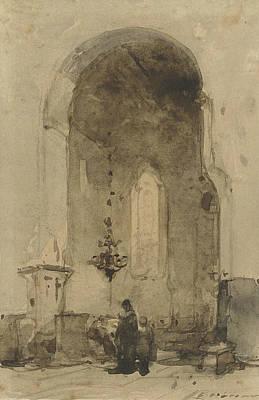 Interior Of The Geertekerk In Utrecht Art Print by Johannes Bosboom