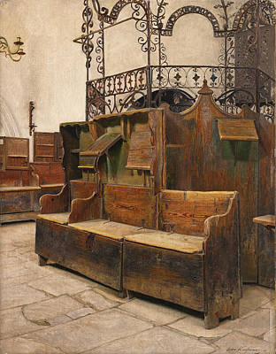 Painting - Interior Of The Holleschau Synagogue by Isidor Kaufmann