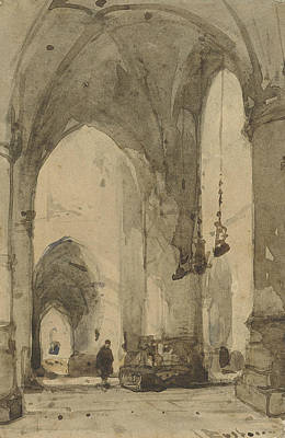 Drawing - Interior Of The Sint-bavokerk In Haarlem by Johannes Bosboom