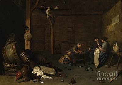Interior Scene With A Peasant Couple And Two Children Art Print by MotionAge Designs