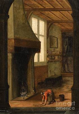 Interior Scene Painting - Interior Scene With A Woman Cleaning by Celestial Images