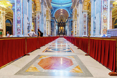 Photograph - Interior St. Peter Basilica In Rome, Italy. by Marek Poplawski
