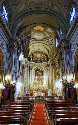 Interior View Of Santi Vincenzo E Anastasio A Fontana Di Trevi In Rome Italy Art Print