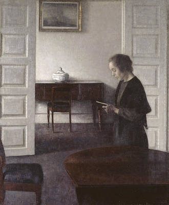 Painting - Interior With A Reading Lady by Vilhelm Hammershoi