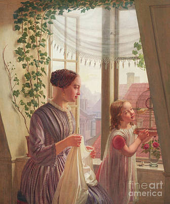 Rooftops Painting - Interior With Mother And Daughter By A Window, 1853 by Ludvig August Smith