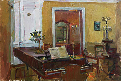 Painting - Interior With Piano by Juliya Zhukova