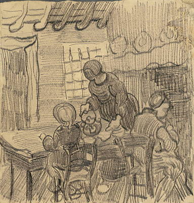 Female With Eggs Painting - Interior With Three Figures At A Table, 1890 by Vincent Van Gogh