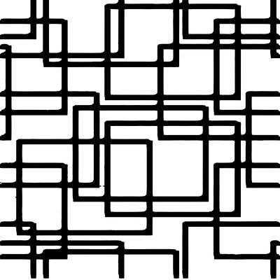 Digital Art - Interlocking Black Squares Artistic Design by Taiche Acrylic Art