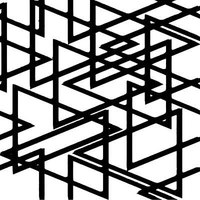 Digital Art - Interlocking Black Triangles Artistic Design by Taiche Acrylic Art