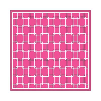 Interlocking Digital Art - Interlocking Rectangular With Border In French Pink by Custom Home Fashions