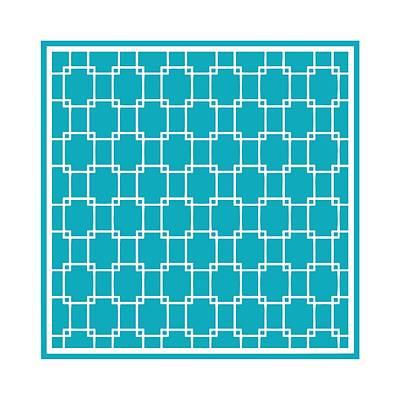 Interlocking Digital Art - Interlocking Rectangular With Border In Robin's Egg Blue by Custom Home Fashions