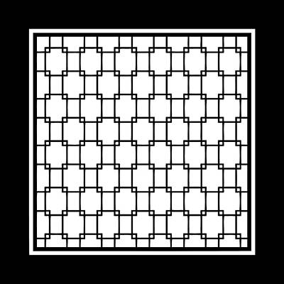 Interlocking Digital Art - Interlocking Rectangular With Border In White by Custom Home Fashions