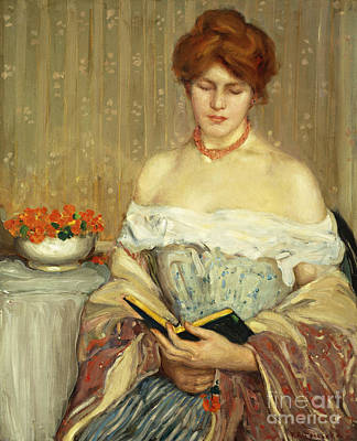 Library Painting - Intermezzo by Frederick Carl Frieseke
