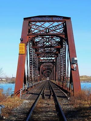 Photograph - International Bridge - Railway Bridge To United States by Leslie Montgomery