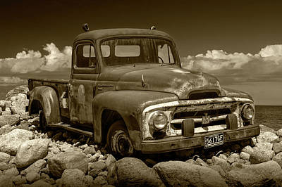 Photograph - International Harvester Pickup Truck In Sepia Tone by Randall Nyhof