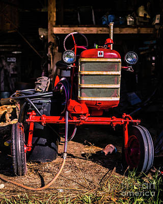 Red Barns Photograph - International Harvester Red Vintage Tractor Wolcott Vermont by Edward Fielding