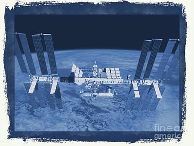 Shuttle Digital Art - International Space Station by Raphael Terra