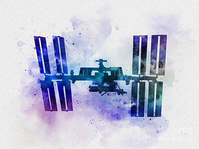 Station Mixed Media - International Space Station by Rebecca Jenkins