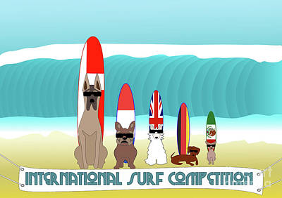 Dachshund Digital Art - International Surf Competition by Beverley Brown