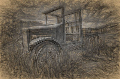 Drawing - International Truck Skeleton by Joe Sparks