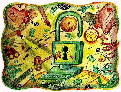 Spy Painting - Internet Security And Hackers by Leon Zernitsky
