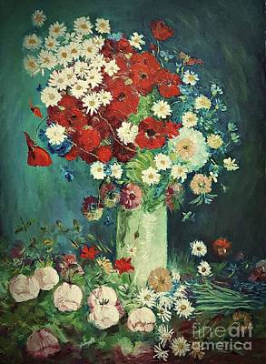 Painting - Interpretation Of Van Gogh Still Life With Meadow Flowers And Roses by AmaS Art