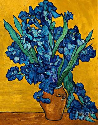 Painting - Interpretation Of Vase With Irises Against A Yellow Background by AmaS Art