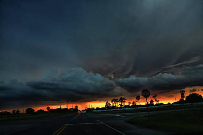 Stop Sign Photograph - Intersection At Sunset by Toni Hopper
