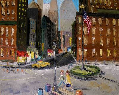 Flagpole Painting - Intersection by John Williams