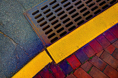 Photograph - Intersection Of Shapes And Colors On The Street by Gary Slawsky