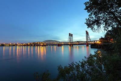 Interstate Bridge Over Columbia River At Dusk Art Print by David Gn
