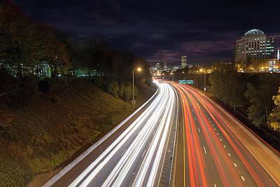 Photograph - Interstate Freeway Through Portland Oregon Downtown by David Gn
