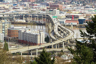 Photograph - Interstate Freeway Over Marquam Bridge In Portland by Jit Lim
