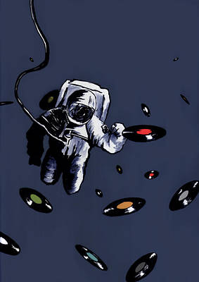 Drawing - Interstellar Record Hunt by Zombie Rust